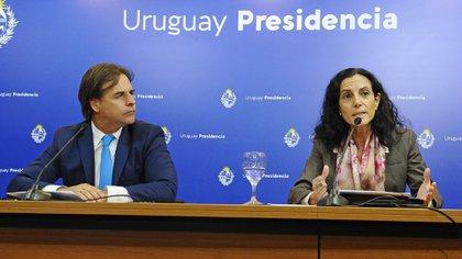 El presidente Lacalle Pou y la ministra Arbeleche (Presidencia de Uruguay)