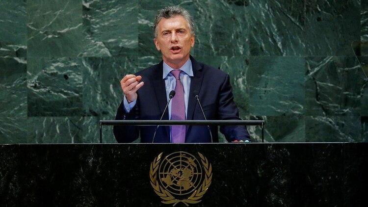 Mauricio Macri en el recinto de sesiones de las Naciones Unidas