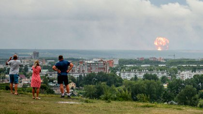 La explosión vista desde la ciudad de Severodvinsk (AP)