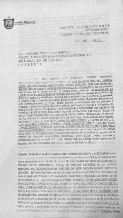 La orden de aprehensión en contra de Winkler (Foto: @AvcNoticias1)