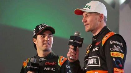Sergio Pérez y Nico Hulkenberg vivieron momentos de tensión durante su paso como coequiperos de Force India (Foto: AP)
