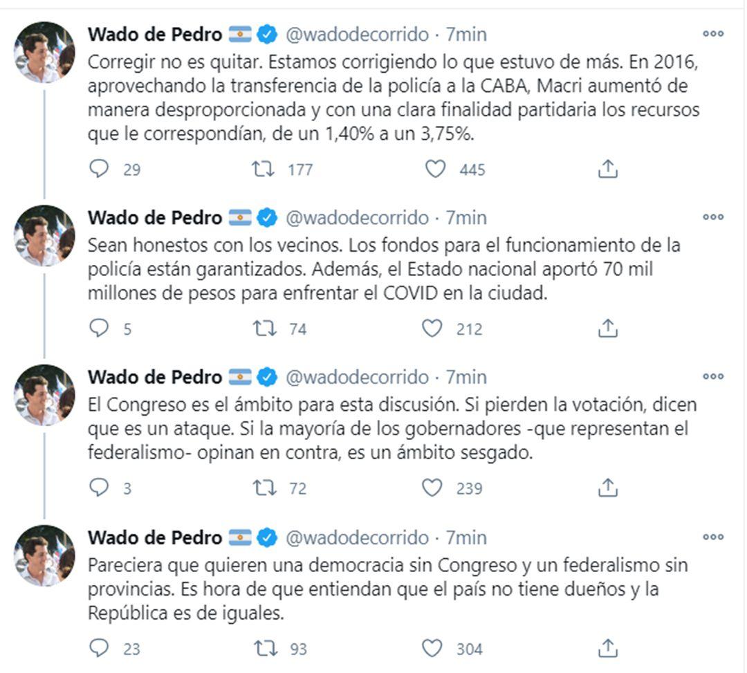 Eduardo Wado de Pedro respuesta Larreta quita de fondos