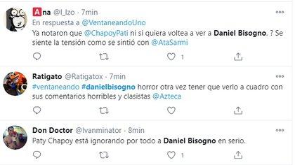 En Twitter hubo gente que aseguró que Pati Chapoy estaba ignorando a Bisogno cuando este regresó luego de su castigo (Captura: Twitter)