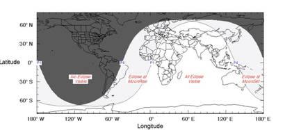 Mapa del trayecto del eclipse (Foto: NASA)