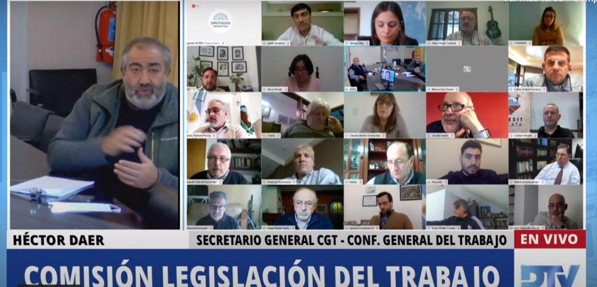 Héctor Daer, de la CGT, en la reunión de comisión de Diputados para hablar sobre el teletrabajo