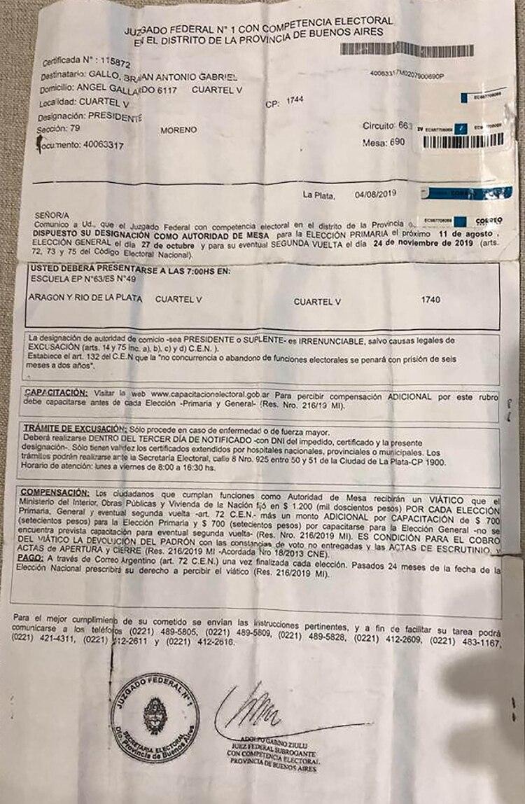 El telegrama que recibió Brian para ser fiscal durante las elecciones del último domingo