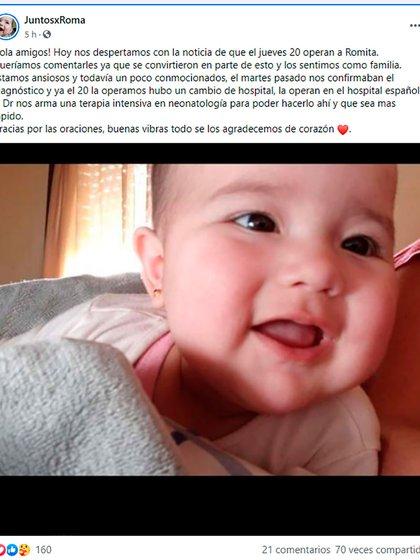 Luego de hacer los trámites para la operación, la familia de Roma entendió que necesitaba juntar dinero para afrontar los gastos que la Obra Social no le cubre. Por eso crearon el Grupo de Facebook JuntosxRoma, para difundir el caso y pedir ayuda.
