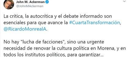 Ackerman invitó a debatir a Monreal (Foto: Twitter / @JohnMAckerman)