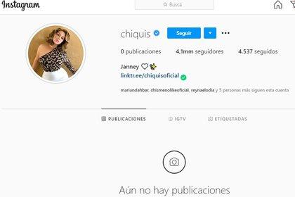 Así luce el perfil de Chiquis desde el sábado