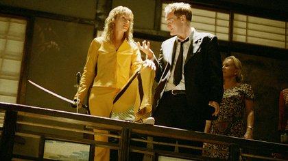 """Uma Thurman y Quentin Tarantino en las grabaciones de """"Kill Bill Volume I"""" en 2003"""