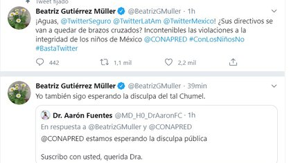 Gutiérrez Müller insistió en que no ha recibido una disculpa pública de Chumel