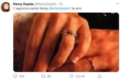 """El mensaje de Nancy en Twitter, al cumplirse sus """"bodas de encaje"""""""