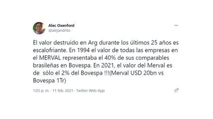 El tweet de Oxenford de esta semana en el que se lamentaba por la destrucción de riqueza en la Argentina