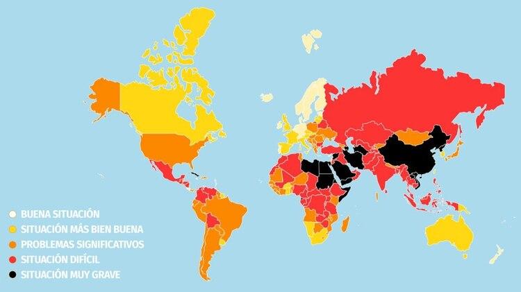 La clasificación Mundial de la Libertad de Prensa 2019 elaborada por Reporteros Sin Fronteras (RSF)
