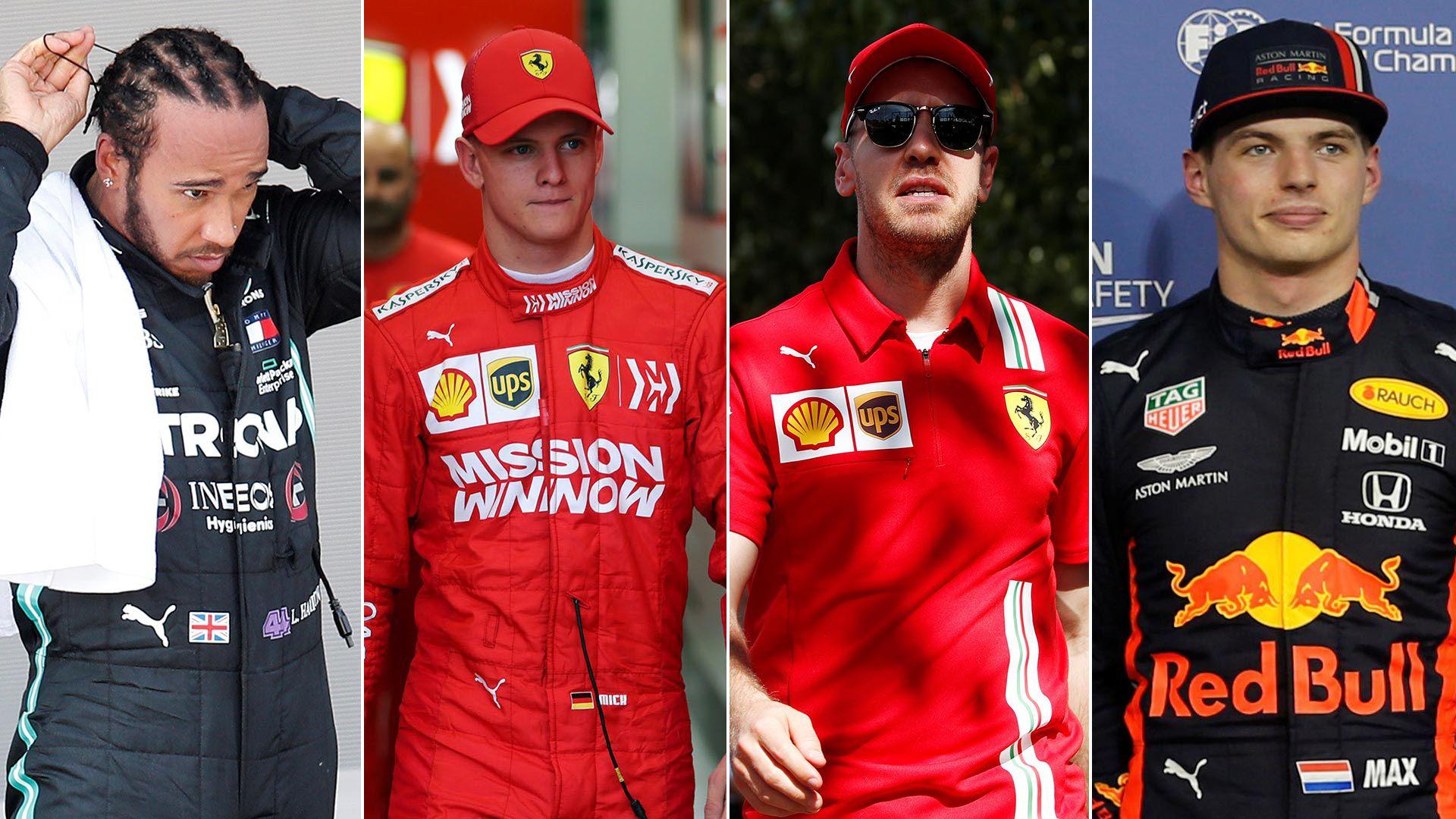Hamilton, Mick Schumacher, Vettel y Verstappen