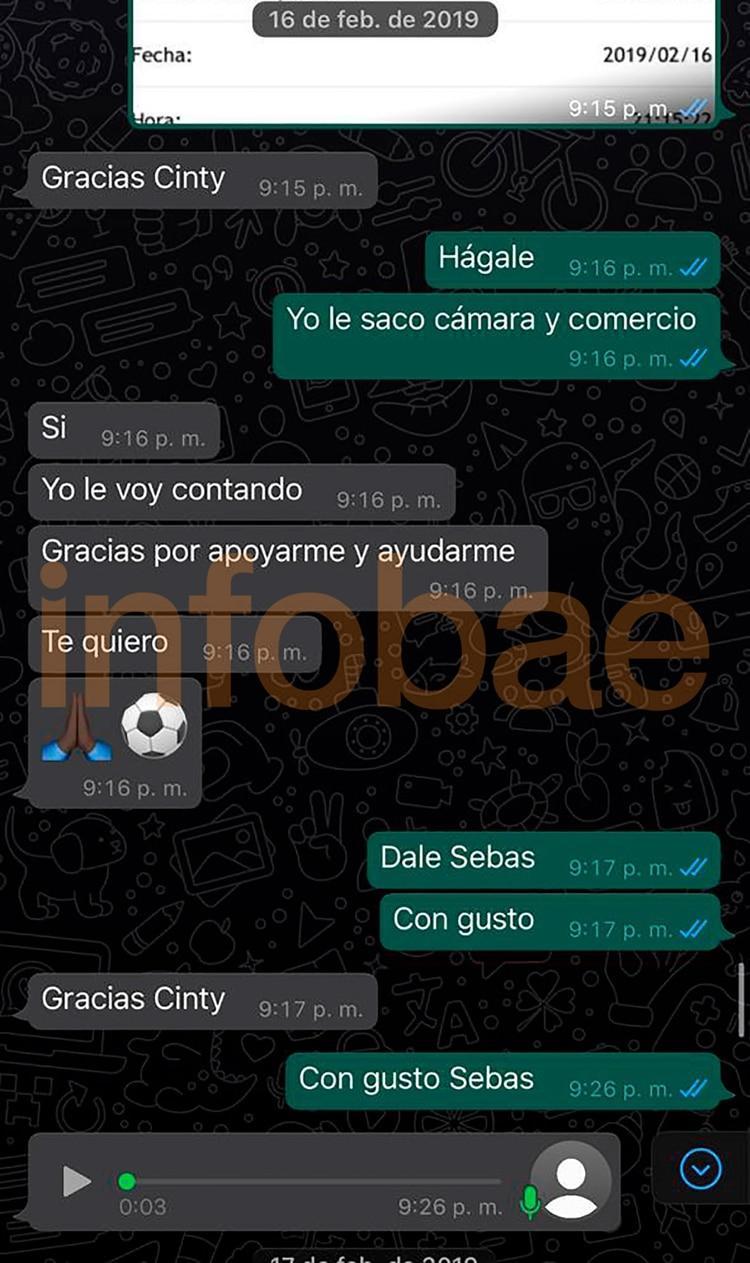 Cynthia declaró que le manejaba, junto a su hermana Daniela, los movimientos comerciales en Colombia y Argentina. El chat busca probar el conocimiento del jugador