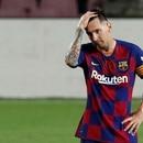 Soccer Football - La Liga Santander - FC Barcelona v Atletico Madrid - Camp Nou, Barcelona, Spain - June 30, 2020 Barcelona's Lionel Messi reacts, as play resumes behind closed doors following the outbreak of the coronavirus disease (COVID-19) REUTERS/Albert Gea