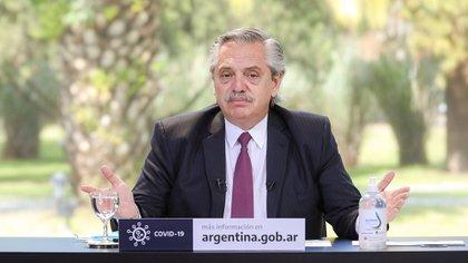 Alberto Fernández, en un anuncio desde la residencia de Olivos.