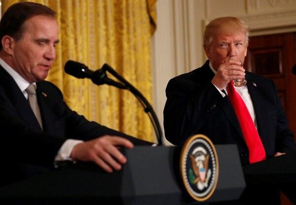 Donald Trump, en conferencia de prensa junto al primer ministro sueco, Stefan Lofven (Reuters)