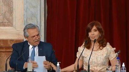 Alberto Fernández y Cristina Kirchner, en la apertura de sesiones del Congreso, el 1° de Marzo pasado