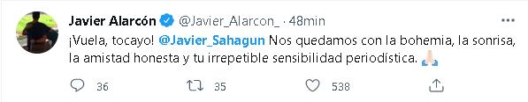 Javier Alarcón, ex director de Televisa Deportes también se manifestó después de la muerte de Sahagún (Foto: Captura Twitter)