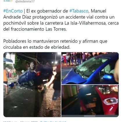 Vehículo de Manuel Andrade volcado en un intento de linchamiento tras haber chocado.