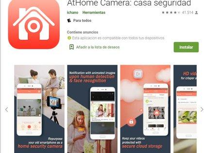 AtHome, disponible para iOS y Android, incluye reconocimiento facial