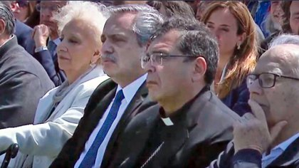 Monseñor Carlos Tissera junto al presidente de la Nación, Alberto Fernández