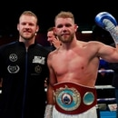 FILE PHOTO: Boxing - Billy Joe Saunders v Shefat Isufi - WBO Interim World Super-Middleweight Title - The Lamex Stadium, Stevenage, Britain - May 18, 2019 Billy Joe Saunders celebrates after winning the fight Action Images via Reuters/Andrew Couldridge/File Photo