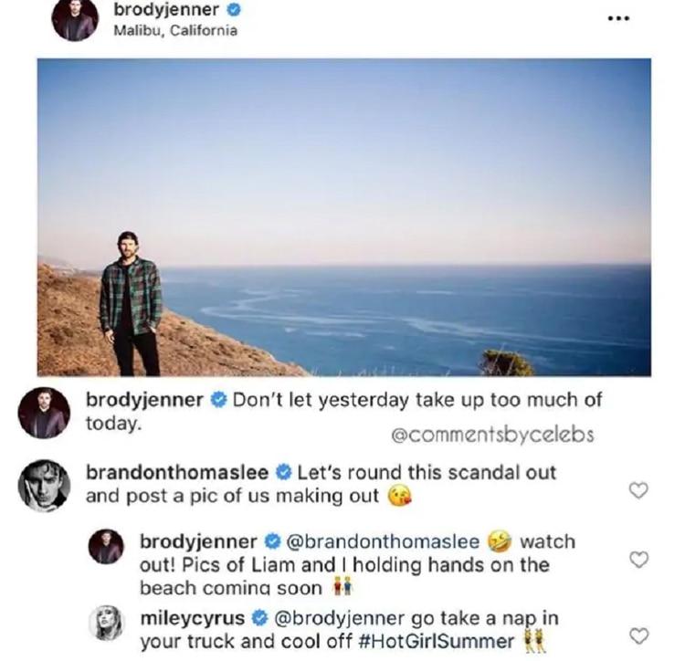 La hija de Billy Ray Cyrus contestó a un mensaje de Brody Jenner (Foto: Instagram @BrodyJenner)