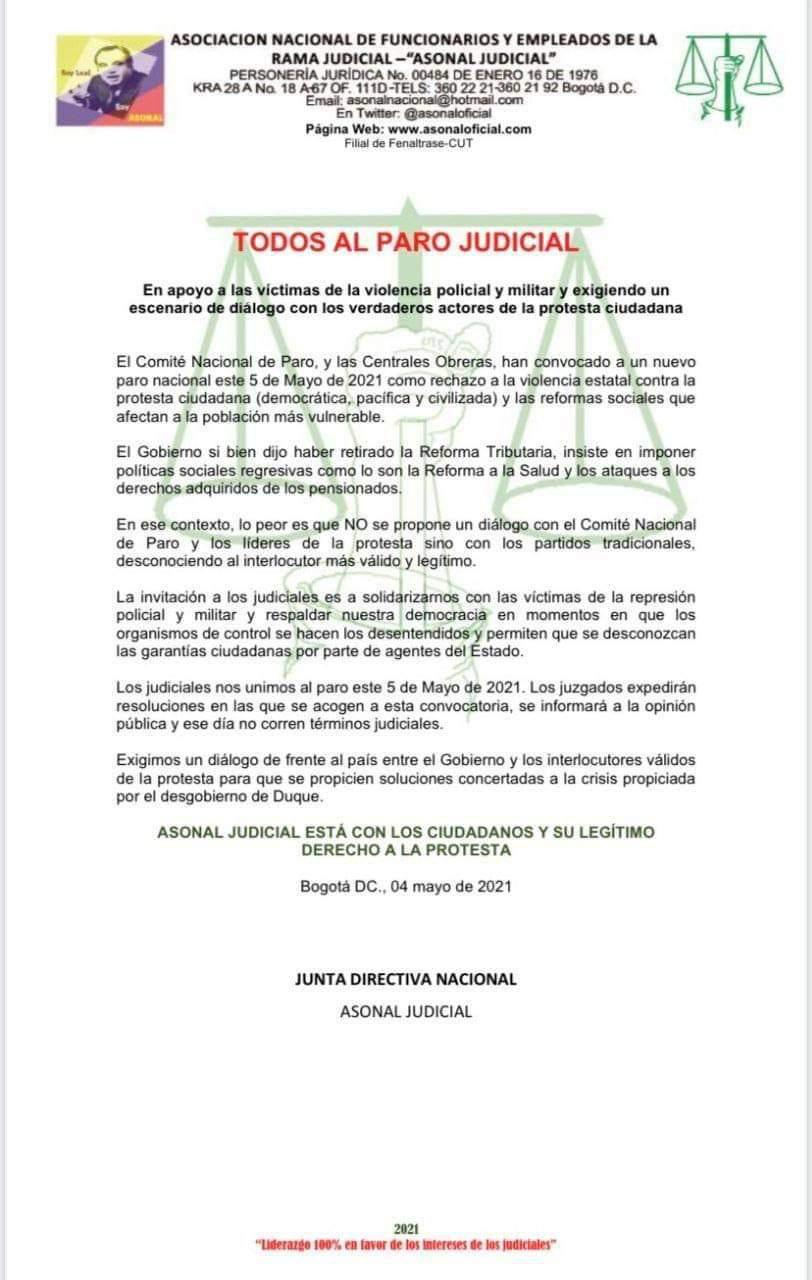 Colombia Paro judicial