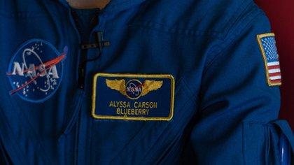 La etiqueta que certifica a Alyssa como aspirante a astronauta de la NASA