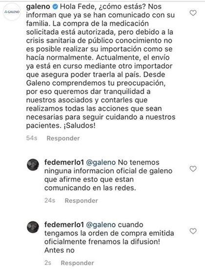 La respuesta de Galeno a la familia Merlo en Instagram.