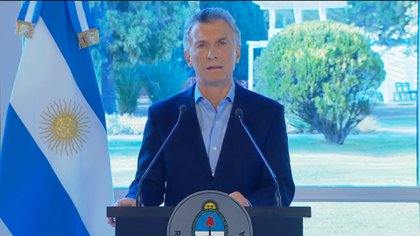 Mauricio Macri, el miércoles, en el anuncio de las medidas económicas, en Olivos