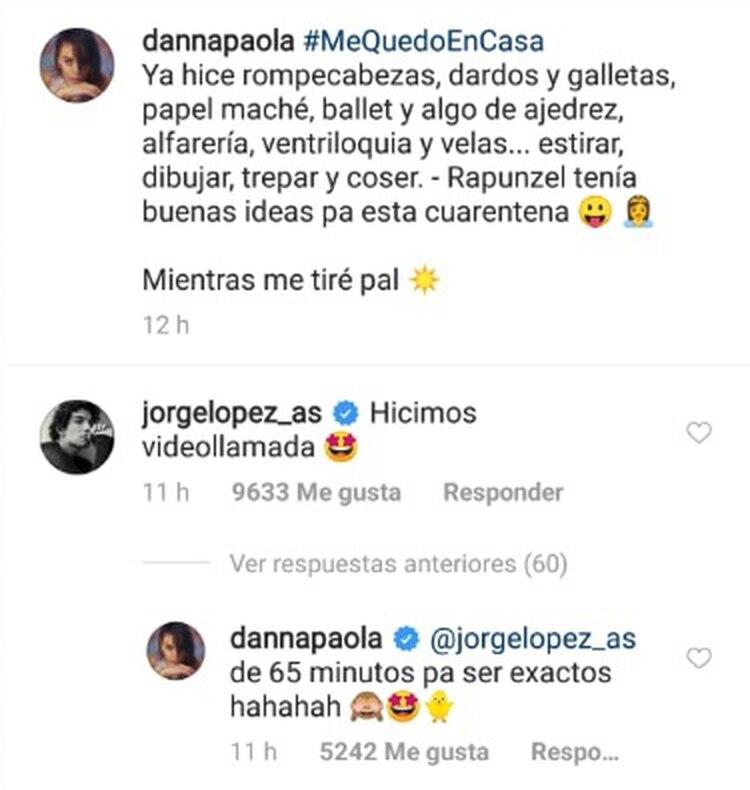 Gracias a esta publicación supimos que Danna Paola y su gran amigo Jorge López han mantenido contacto durante este periodo de aislamiento. (Foto: Instagram)