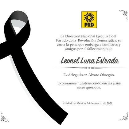 El pésame del PRD ante la muerte de Leonel Luna (Foto: Cortesía PRD)