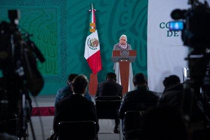 Olga Sánchez Cordero, secretaria de Gobernación, sustituyó al presidente en las conferencias matutinas (Foto: Presidencia de México)