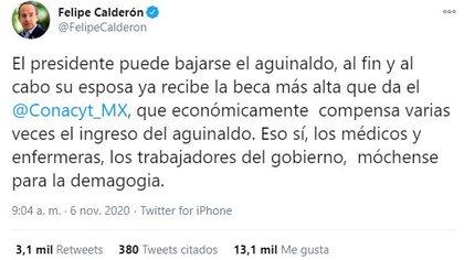 """Según Calderón, la beca otorgada a Gutiérrez Müller, compensa económicamente """"varias veces"""", el ingreso del aguinaldo. (Foto: Twitter)"""