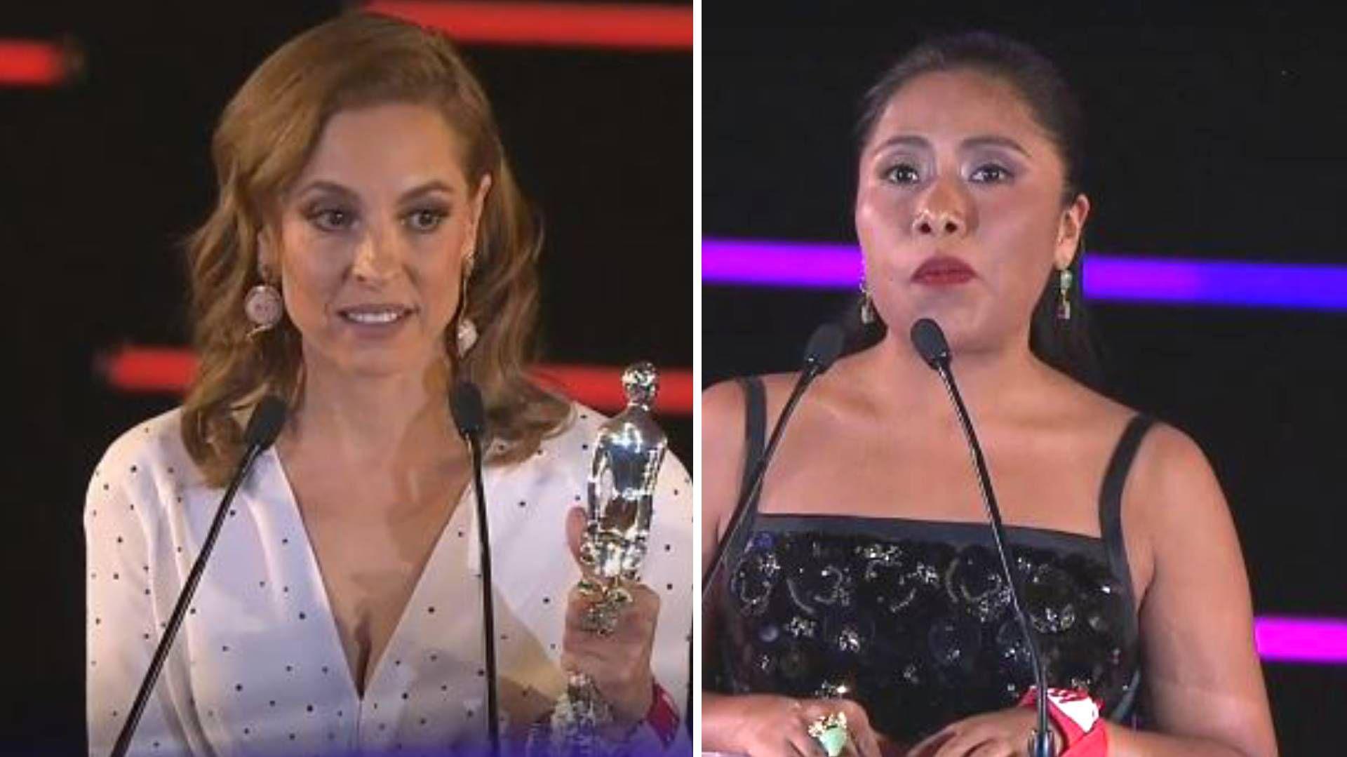 Marina de Tavira recibióun premio; Yalitza Aparicio presentó una categoría (Foto: Captura de pantalla)