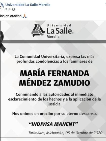 Por su parte, la Universidad La Salle campus Morelia expresó sus condolencias a los familiares de la víctima y pidió a las autoridades la aplicación de la justicia y el esclarecimiento de los hechos (Foto: Captura de pantalla)