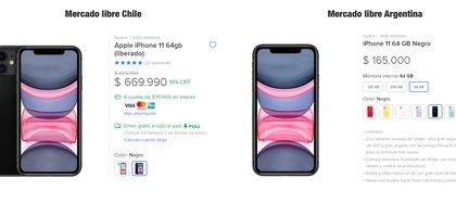 La diferencia en el caso del iPhone 11 es del 28%, sale $47.000 pesos argentinos menos del otro lado de la frontera