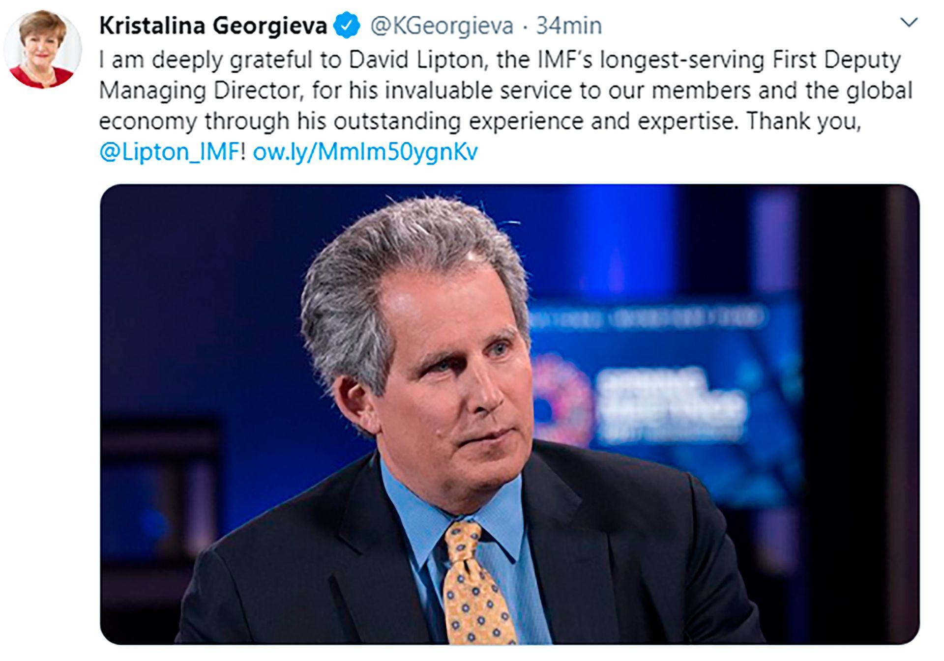 El tuit con el que Georgieva saludó al entonces saliente número dos del FMI, David Lipton, que ahora desde el Tesoro de EEUU es una voz importante cuando se debate la política de EEUU en el Fondo