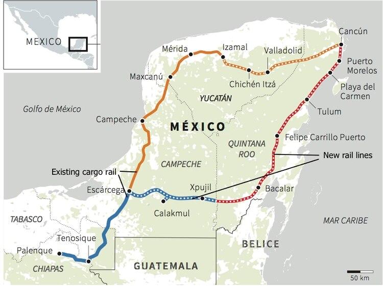 Ruta propuesta del Tren Maya(Proyecto Tren Maya/ Reuters)