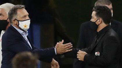 Russo y Gallardo, mano a mano otra vez en la Bombonera el próximo domingo (REUTERS/Alejandro Pagni)