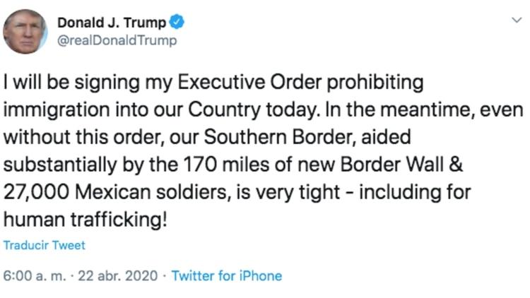 Éste fue el mensaje en el que el presidente Trump anunció su acción para este miércoles. (Foto: Captura de pantalla)