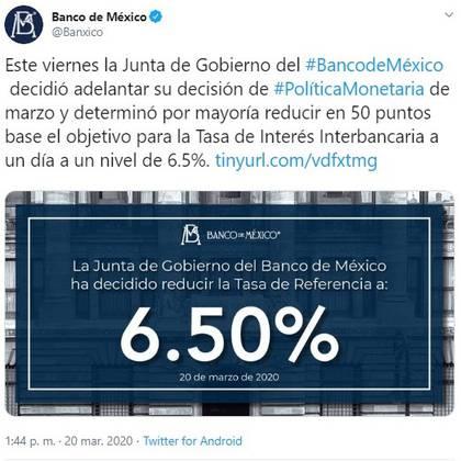 El Banco de México redujo su tasa de interés de referencia (Foto: Twitter@Banxico)