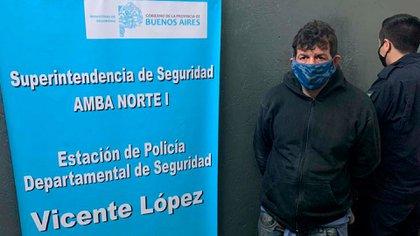 Díaz tras su detención (foto: Télam)