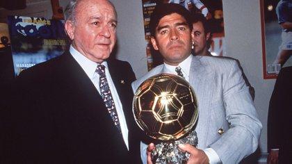 Diego Maradona y Alfredo Di Stefano, dos leyendas del fútbol mundial