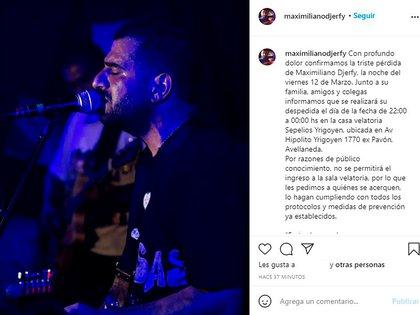 El posteo que confirmó la muerte de Maximiliano Djerfy (Foto: Instagram@maximilianodjerfy)