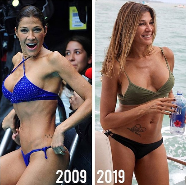 Tal vez para no confundir como Ayos, Catherine Fulop decidió aclarar a qué año corresponde cada foto: en 2009 se consagraba en el Festival de Viña del Mar, en Chile; en este 2019, a los 53 años, tiene una carrera consolidada como actriz